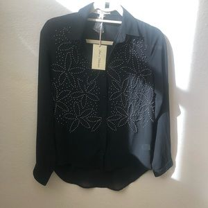 NWT - Hot & Delicious Beaded Blouse Sheer